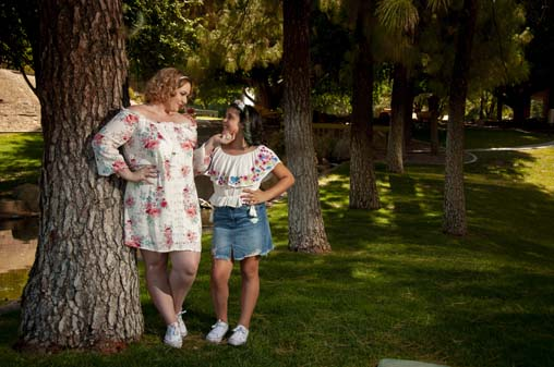 Sweet Mother and Daughters Portrait at Park in Tempe