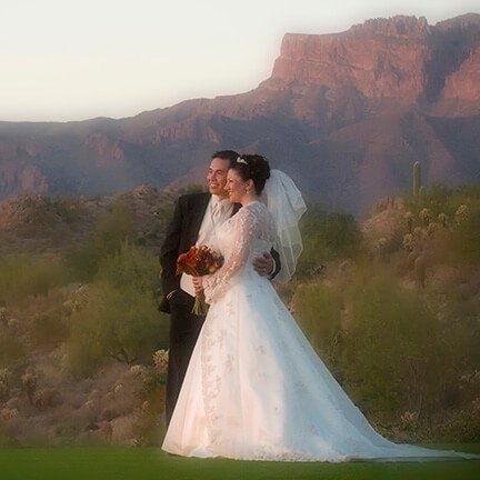 Bride and Groom Standing | Mountain | Gold Canyon | Instagram Link