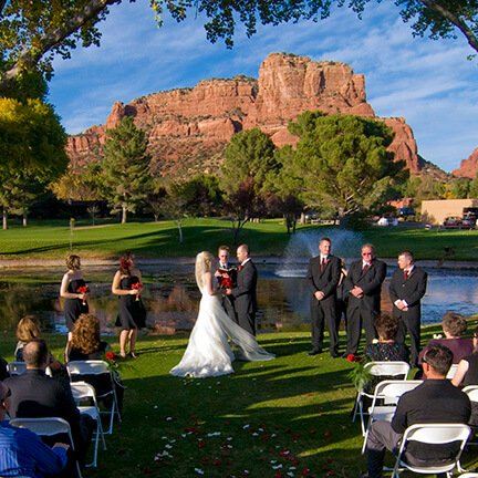 Bride and Groom Ring Exchange | Mountain | Sedona | Instagram Link