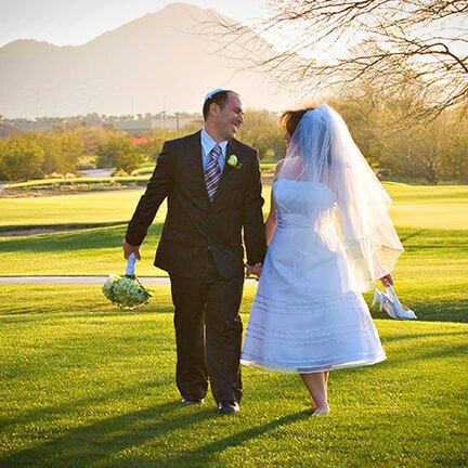Bride and Groom Walking | Golf Course | Scottsdale | Instagram Link