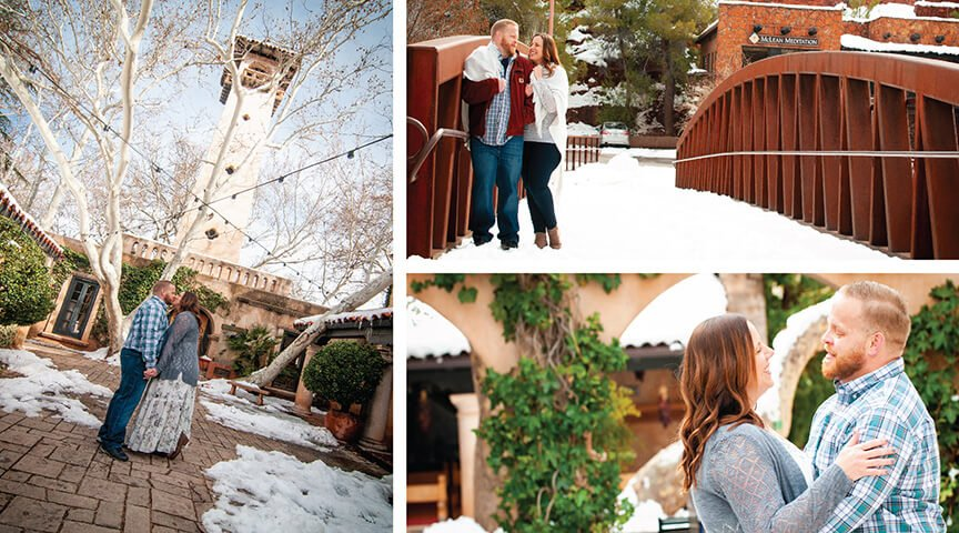 Sedona Engagement Photography Fun Snow Day